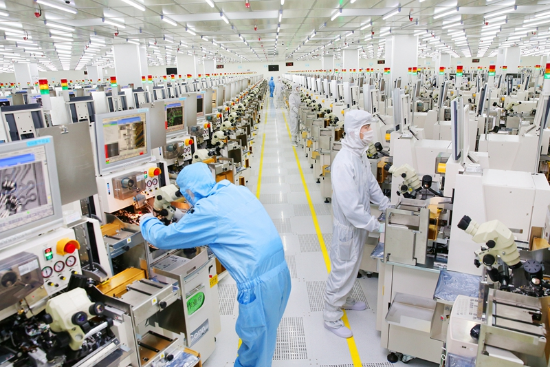 A smart chip package assembly line at an electronics company in Nantong, Jiangsu province, in February. Photo: VCG