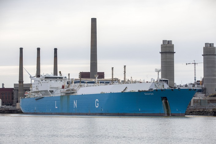 The Gaselys liquefied natural gas (LNG) tanker sits at the Engie SA Everett import terminal in Boston, U.S. on Jan. 28. Photo: VCG