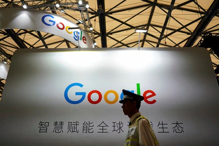 A Google LLC sign is seen during the China Digital Entertainment Expo & Conference, or ChinaJoy, in Hong Kong on Friday. Photo: VCG