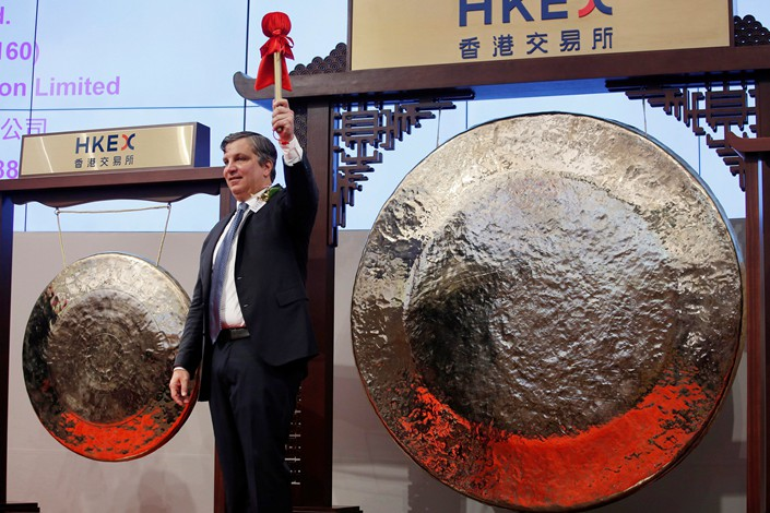 BeiGene Ltd. founder and CEO John Oyler attends the debut of the company on the Hong Kong Stock Exchange on Wednesday. Photo: VCG