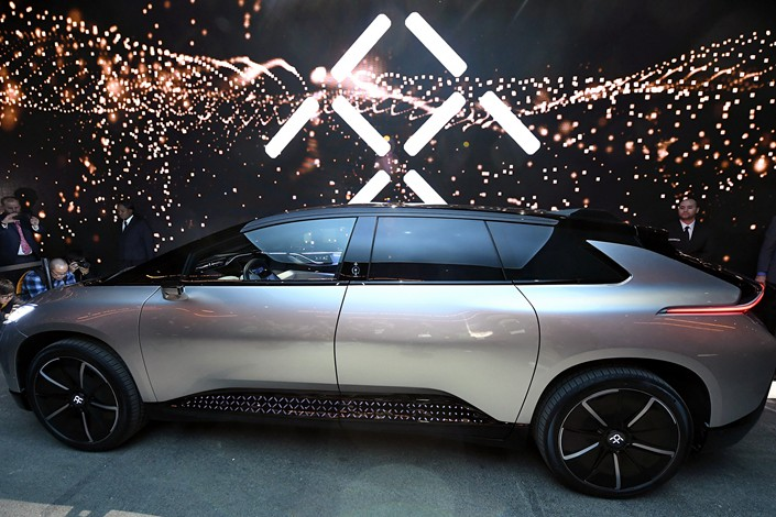 Faraday Future's FF 91 prototype electric crossover vehicle is unveiled at a news event in Las Vegas in January 2017. Photo: VCG