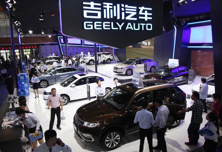 People visit Geely's exhibition booth during the Nanjing International Automotive Exhibition in October 2016. Photo: VCG.