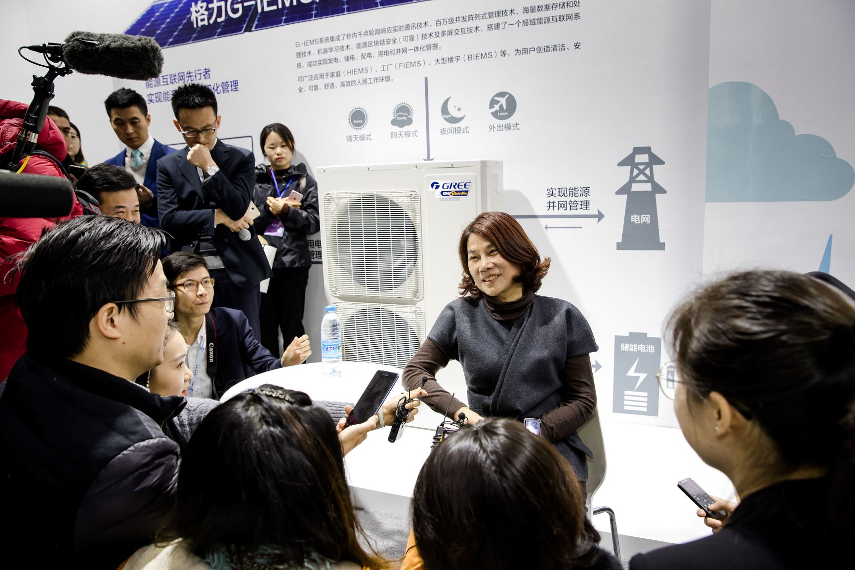 Gree President Dong Mingzhu speaks to the media at an industry summit in Nanjing in December 2017. Photo: VCG