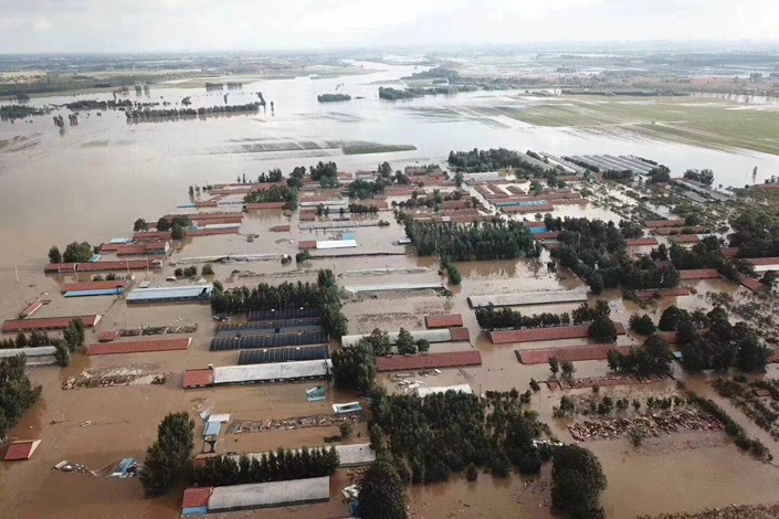 An aerial view of a flooded area of Shouguang, East China's Shandong province, on Thursday. Photo: IC