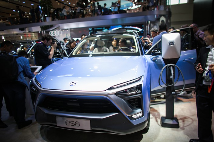 A Nio Inc. ES8 car is displayed during the 15th Beijing International Automotive Exhibition on April 25. Photo: IC
