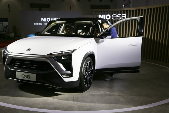 A Nio ES8 electric sports utility vehicle on display during an exhibition in Beijing on Aug. 14. Photo: IC