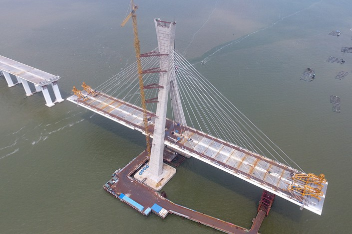 The under-construction Puqian Bridge is seen in Wenchang, Hainan province, on Aug. 27. Photo: VCG