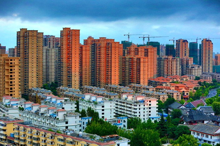 Houses under construction are seen in Huaian, Jiangsu province, on Sunday. Photo: VCG