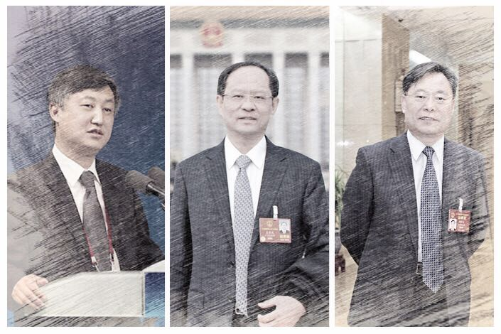 (From left) Sun Guofeng, Wang Jingwu and Zhou Xuedong