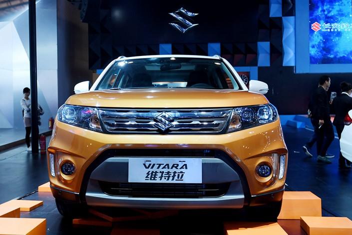 A Suzuki Vitara automobile is displayed at an exhibition in Zhengzhou, Henan province, in November 2016, Photo: VCG