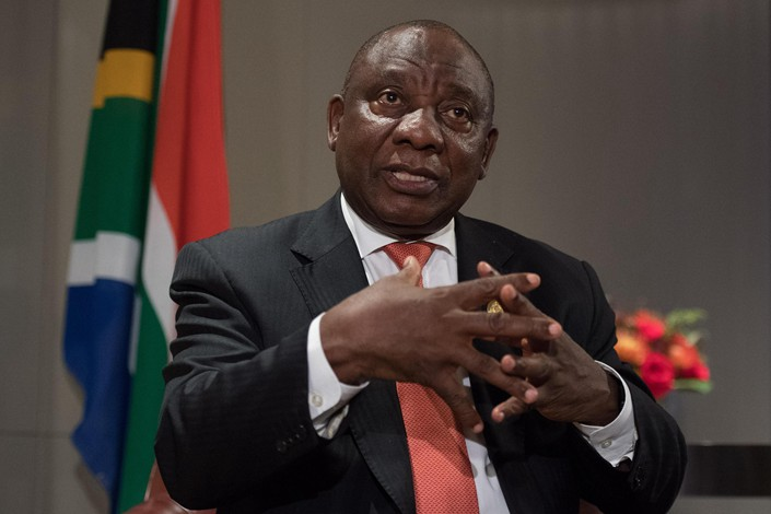 South African President Cyril Ramaphosa talks to reporters in Beijing on Tuesday. Photo: VCG