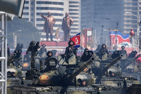 Korean People's Army tanks take part in a military parade on Kim Il Sung Square in Pyongyang on Sunday. North Korea held a military parade to mark its 70th birthday, but refrained from showing off the intercontinental ballistic missiles that have seen it hit with multiple international sanctions. Photo: VCG