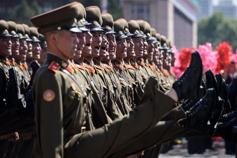 Korean People's Army soldiers march during a mass rally on Kim Il Sung Square in Pyongyang on Sunday. Photo: VCG
