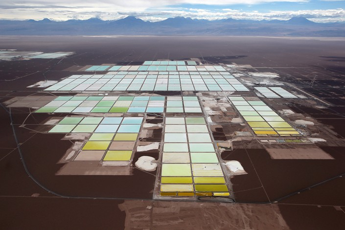Brine pools and processing areas of the SQM lithium mine in Chile's Atacama desert is seen in January 2013. Photo: VCG