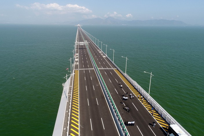 A view of the Hong Kong-Zhuhai-Macao bridge, which was completed in April. Photo: VCG