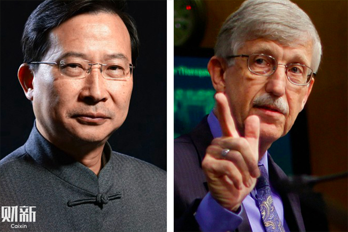 Peking University neuroscientist Rao Yi (left) and NIH Director Francis Collins. Photo: Guo Xianzhong/Caixin and VCG