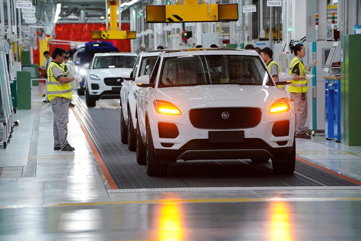 Jaguar E-Pace cars are seen on the production line of the Chery Jaguar Land Rover plant in Changshu, Jiangsu province, on June 27. Photo: VCG