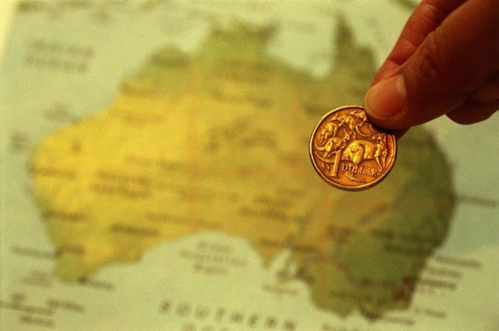 The Australian dollar fell slightly after U.S. President Donald Trump unveiled the tariff package. Photo: AFR