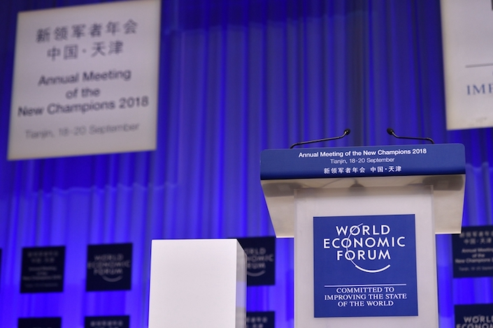 The stage is prepared for the World Economic Forum's