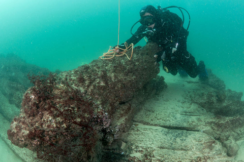 A diver examines a cannon on the sunken ship. Photo: VCG