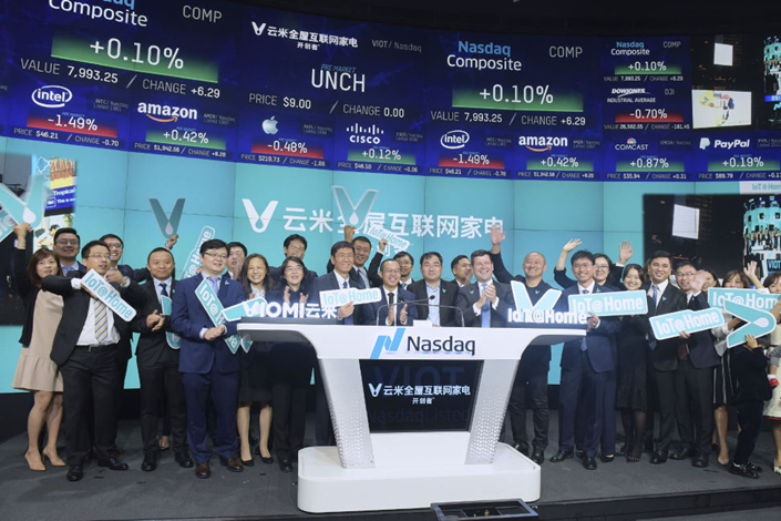 Chinese smart-appliance maker Viomi Technology Co. Ltd. began trading on the Nasdaq Stock Market in New York City on Tuesday. Photo: Weibo
