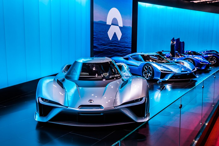A NIO EP9 NextEV sports car is on display in May 2017 at the 17th Shanghai International Automobile Industry Exhibition. Photo: VCG