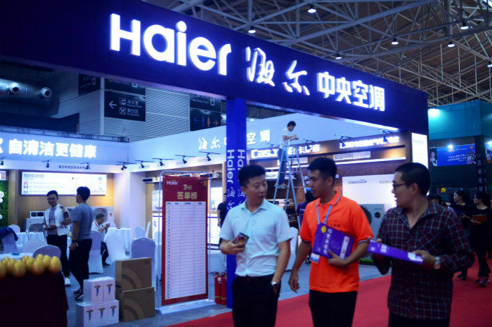 Haier displays its air conditioners at a recent trade fair in its hometown of Qingdao. Photo: VCG