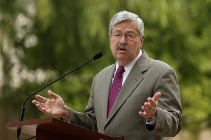 U.S. Ambassador to China Terry Branstad at a recent press conference in Beijing. Photo: VCG