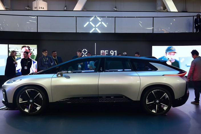 Faraday Future's FF 91 electric car is displayed at the 2017 Consumer Electronic Show in Las Vegas in January 2017. Photo: VCG
