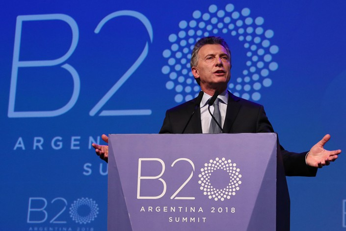 Argentine President Mauricio Macri as delivers a closing speech at the annual meeting of the B-20, the G-20 business forum, in Buenos Aires, Argentina, on Friday. Photo: IC