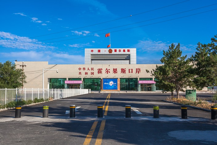 A China-Kazakhstan border checkpoint is seen in Khorgas, the Xinjiang Uygur autonomous region. Photo: VCG