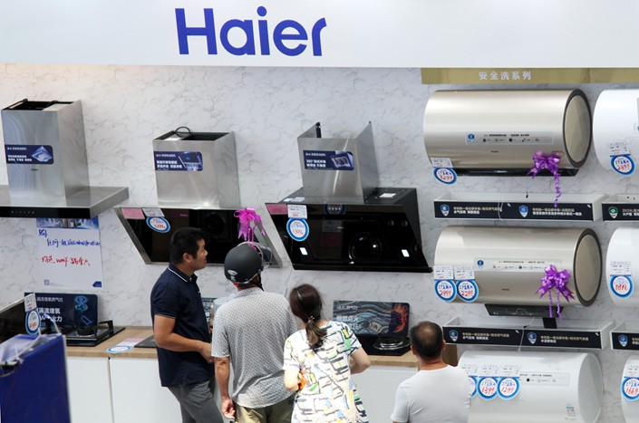 Shoppers browse Haier appliances at a store in Changzhou, East China's Jiangsu province on Aug. 24. Photo: IC