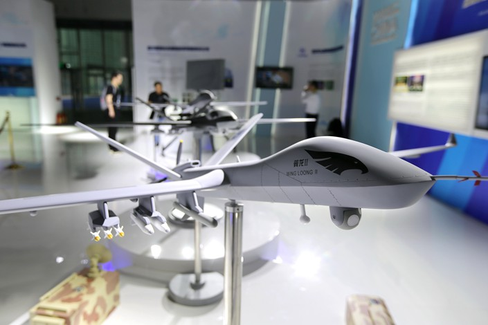 A model of a Wing Loong II drone is displayed at the Chengdu International Exhibition and Convention Center on Sept. 20. Photo: VCG