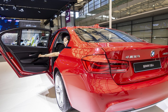Brilliance BMW cars are displayed at the Shanghai Pudong International Automobile Exhibition in Shanghai on Sept. 28. Photo: VCG