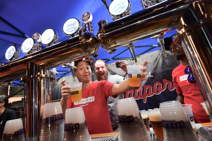 Beertopia, the largest craft beer festival in Hong Kong, is held in the city's Central Promenade on Oct. 6. Photo: IC