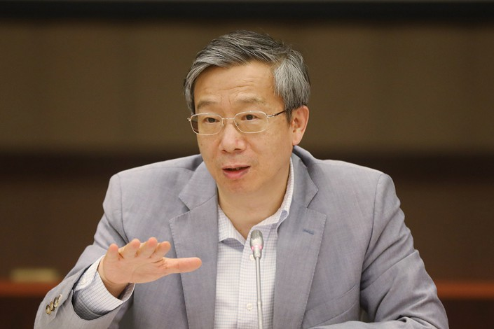 People's Bank of China Governor Yi Gang said the PBOC won't introduce special policies to promote the use of the yuan globally, which he said should be a market-driven process. Photo: VCG