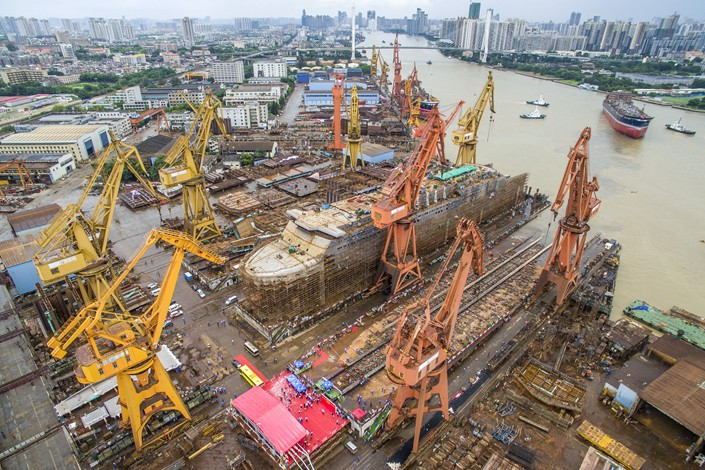 Ships are built at the Guangzhou Shipyard International facility in Liwan district, Guangzhou in July 2017. Photo: VCG