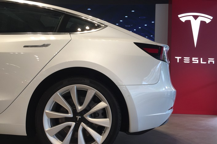 A Model 3 electric car is displayed at a Tesla dealership in Wuhan, Hubei province, on June 9. Photo: IC