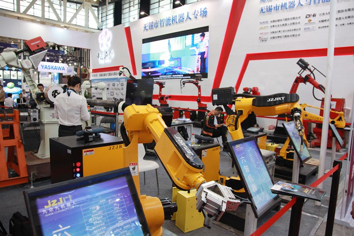 Industrial robots on display at the World Intelligent Manufacturing Summit in Nanjing, Jiangsu province on Oct. 12. Photo: VCG