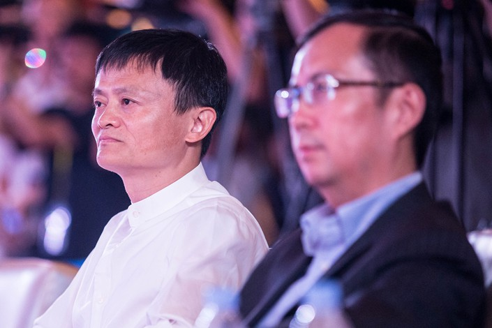 Alibaba Chairman Jack Ma (left) and CEO Daniel Zhang. Photo: VCG