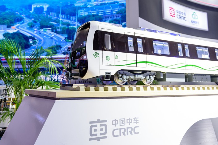 A model of a train is displayed at a CRRC booth at an exhibition in Fuzhou, Fujian province on June 20. Photo: VCG