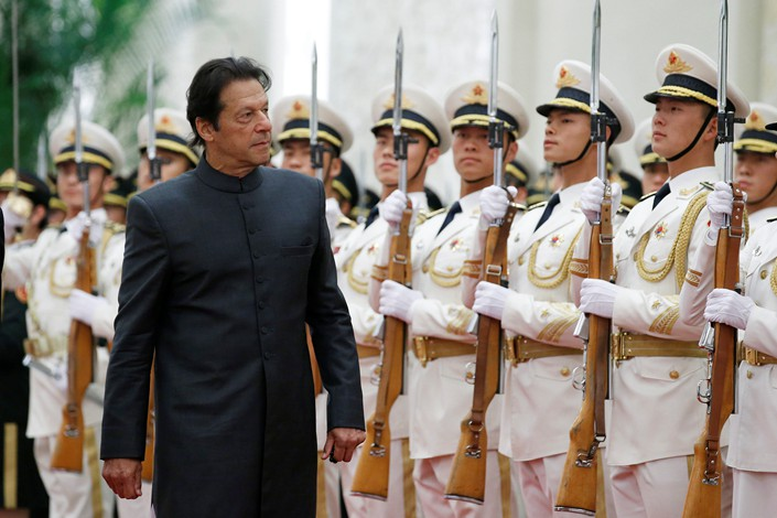 Pakistani Prime Minister Imran Khan attends a welcoming ceremony hosted by Chinese Premier Li Keqiang at the Great Hall of the People in Beijing on Saturday. Photo: VCG
