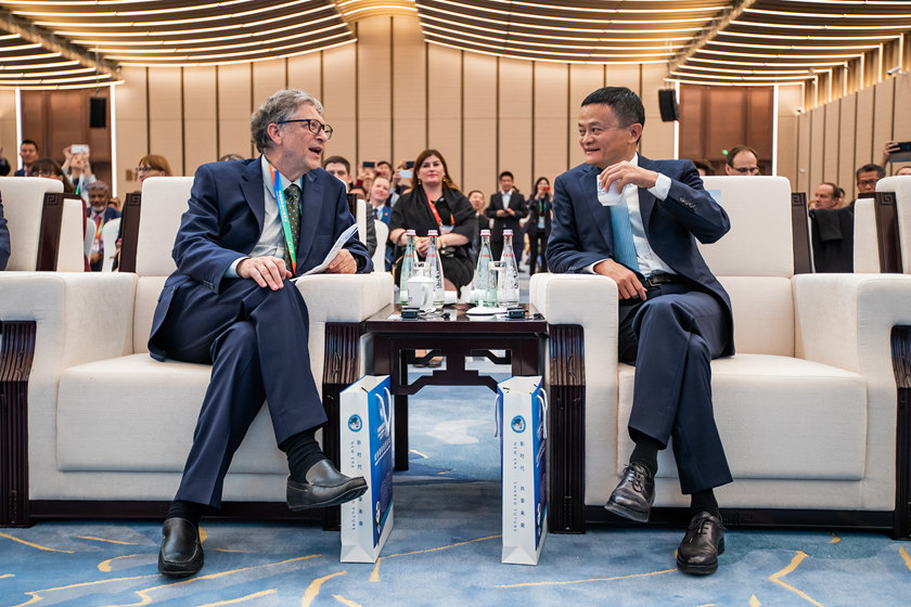 Microsoft founder Bill Gates and Jack Ma, founder of Chinese e-commerce titan Alibaba, share a moment at the first China International Import Expo in Shanghai, which opened on Monday. Photo: VCG