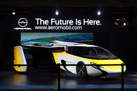 "The AeroMobil ""flying car"" sits on display Monday at the expo. Photo: VCG"