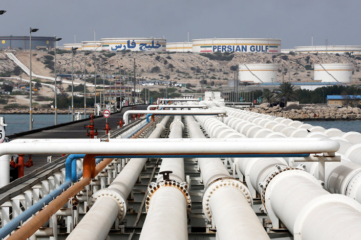 An oil terminal on Iran's Kharg Island in the Persian Gulf on March 12, 2017. Photo: IC