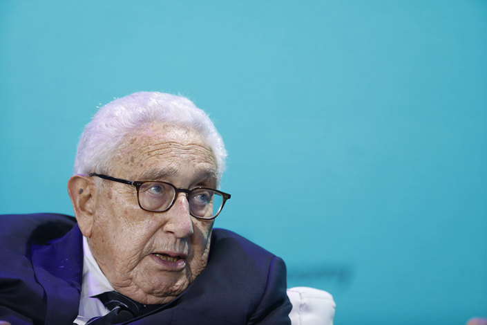 Henry Kissinger, former U.S. secretary of state, speaks at the Bloomberg New Economy Forum in Singapore on Tuesday. Photo: VCG