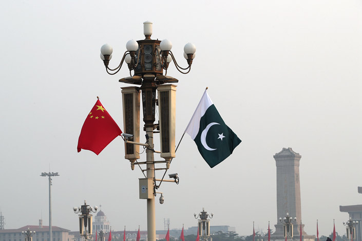 Chinese and Pakistani flags flying together on Beijing's Tiananmen Square on Nov. 2. Photo: VCG
