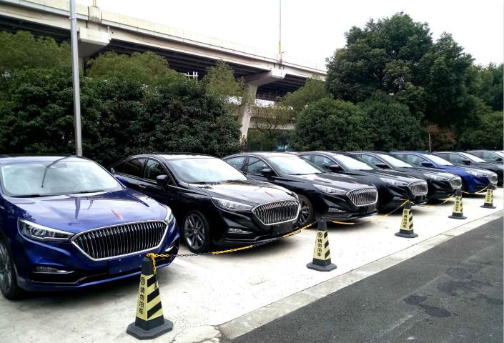 Hongqi brand cars for sale on a lot in Shanghai. Photo: VCG