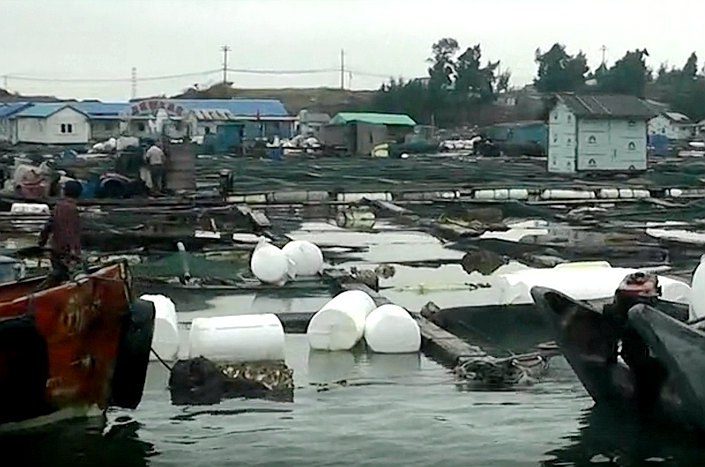 A Tencent Video screenshot shows a wharf in Xiaocuo village after the chemical leak on Sunday. Photo: Tencent