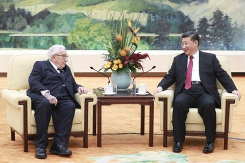 Henry Kissinger met with Chinese President Xi Jinping (right) at the at the Great Hall of the People in Beijing on Thursday. Photo: Xinhua